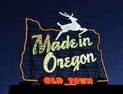 The Made in Oregon sign above Old Town.
