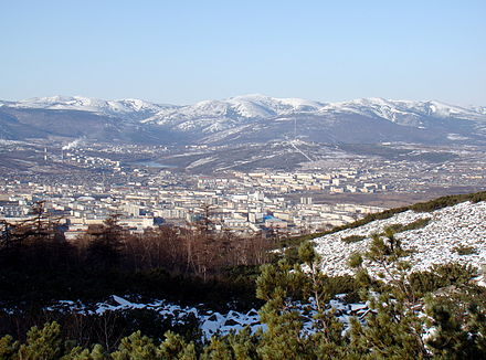 During the Stalin era, Magadan was a major transit center for prisoners sent to the Kolyma camps. Magadan seen from mountain.jpg