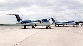 Durham Tees Valley Airport - British Midland Douglas DC-9s at the airport in 1994