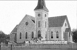 Makawao Union Church - Wood-framed church in early 1900s