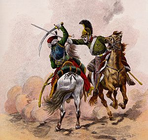 Mamelukes of the Imperial Guard - The fight between a Mameluke and a Russian Dragoon, by Jacques Onfroy de Bréville
