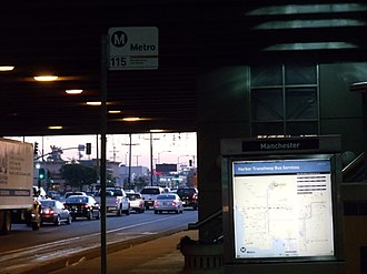 Manchester station (Los Angeles Metro) - Image: Manchester Silver Line Station 1