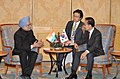 Manmohan Singh at a bilateral meeting with the President of the Republic of South Korea, Mr. Lee Myung-bak, on the sidelines of the 17th ASEAN Summit and Related Summits to be held in Hanoi, Vietnam on October 29, 2010 (1).jpg