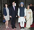 Manmohan Singh with the Prime Minister of New Zealand, Mr. John Key, at his ceremonial reception, at Rashtrapati Bhawan, in New Delhi on June 28, 2011. Smt. Gursharan Kaur and Mrs. Bronagh Key are also seen.jpg