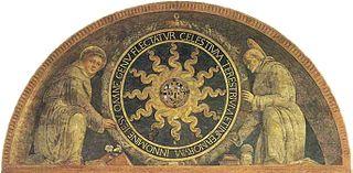 Monogramme du christe parmi deux saints