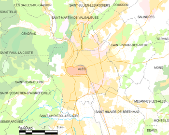 Map of the commune of Alès