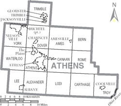 Map of Athens County Ohio With Municipal and Township Labels.PNG