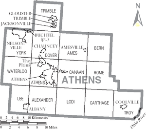 Athens County, Ohio - Map of Athens County, Ohio With Municipal and Township Labels