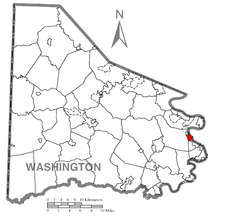 Location of Charleroi in Washington County