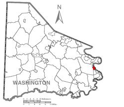 Location of Charleroi in Washington County