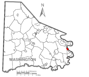 Map of Washington County higlighting Charleroi.