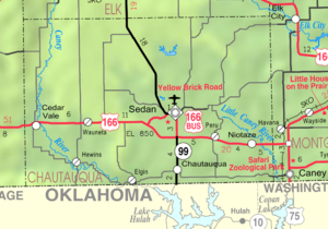 Sedan, Kansas - Image: Map of Chautauqua Co, Ks, USA