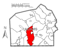 Map of Adams County, Pennsylvania highlighting Cumberland Township