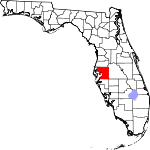 A state map highlighting Hillsborough County in the middle part of the state. It is large in size.