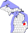 State map highlighting Tuscola County