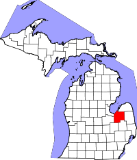 Tuscola County, Michigan  Comitatul Tuscola pe harta statului Michigan
