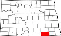 Map of North Dakota highlighting Dickey County