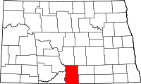 Map of North Dakota highlighting Emmons County