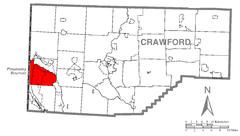 Map of North Shenango, Crawford County, Pennsylvania Highlighted.png