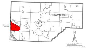 North Shenango Township, Crawford County, Pennsylvania - Image: Map of North Shenango, Crawford County, Pennsylvania Highlighted