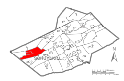 Map of Schuylkill County, Pennsylvania Highlighting Hegins Township