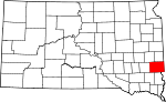 State map highlighting Minnehaha County