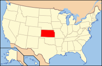 Map of the U.S. highlighting Канзас