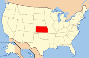 Map of the United States with Kansas highlighted