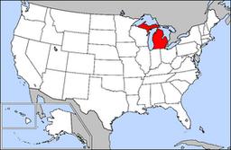 Kort over USA med Michigan markeret