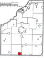 Map of Wood County Ohio Highlighting North Baltimore Village.png