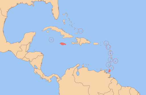 Map of the West Indies Federation
