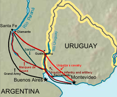 map of the Platine region showing routes of attack by armies going from Uruguay into northern Argentina and then south towards Buenos Aires