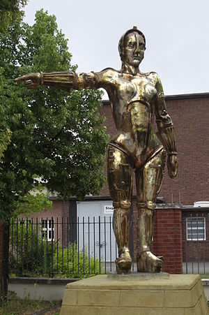 Science fiction film - Metropolis (1927) by Fritz Lang was one of the first feature length science fiction films in history. It was produced at Studio Babelsberg, Germany. (Photo shows the statue of the film figure Maria at Filmpark Babelsberg)
