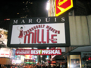 Marquis Theatre, showing Thoroughly Modern Mil...