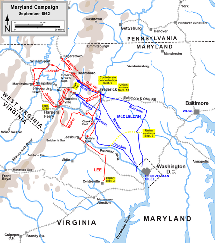 Maryland Campaign, actions September 3 to September 15, 1862 Maryland Campaign.png