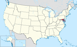Map of the United States with Maryland highlighted