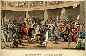 Argyll Rooms - Etching by Theodore Lane of a masquerade in the Argyll Rooms