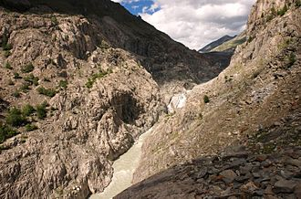 Aletsch Glacier - The beginning of the river Massa (the glacier is visible on the right)