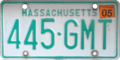 Massachusetts license plate, 1977–1993 series with 2005 sticker.png