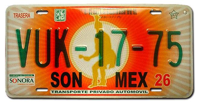 Matrícula automovilística México 2002 Sonora VUK-17-75