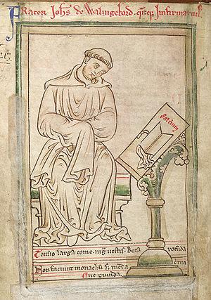 John of Wallingford (d. 1258) - Drawing of John of Wallingford by Matthew Paris, ca. 1255. (British Library Cotton MS Julius D VII, f.42v)