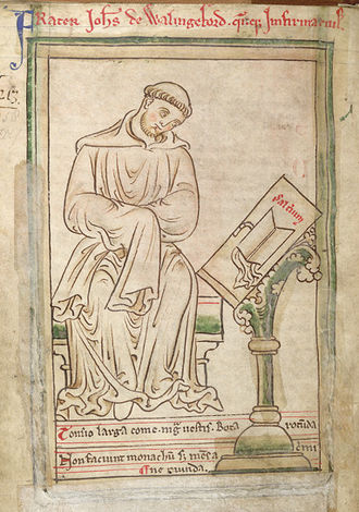 John of Wallingford (d. 1258) - Drawing of John of Wallingford by Matthew Paris, ca. 1255. (British Library Cotton MS Julius D VII, f.42v)