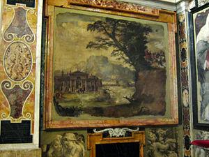 Maturino da Firenze - Landscape by Polidoro da Caravaggio and Maturino da Firenze, in San Silvestro al Quirinale, Rome (c. 1525).
