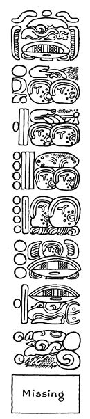 Fig. 60. Part of the inscription on Stela 10, Tikal (probably an Initial Series), showing a number composed of eight periods.