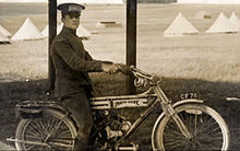 5506366c5c2c29 James McCudden - McCudden indulging in his other engineering interest   motorcycles. Pictured here on