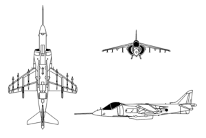 Orthographic projection of the AV-8B Harrier II.