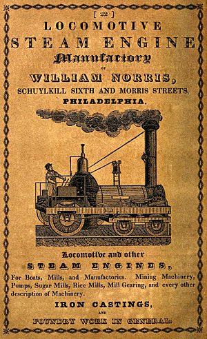Norris Locomotive Works - 1842 advertisement for the Norris Locomotive Works