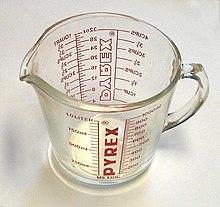 14f87cec3 A Pyrex measuring cup manufactured c. 1980