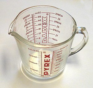Metrication in the United States - This measuring cup, manufactured and sold in the United States circa 1980 at the height of the metrication effort, features graduations in both metric and United States customary units, with the metric graduations in front for right-handed users.