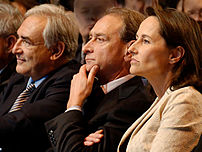 From left to right: Dominique Strauss-Kahn, Bertrand Delanoë and Ségolène Royal sitting in the front row at a meeting held on Feb. 6, 2007 by the French Socialist Party at the Carpentier Hall in Paris.